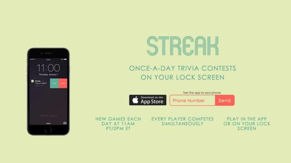 iPhoneのロック画面からクイズに参加できるアプリ「STREAK」