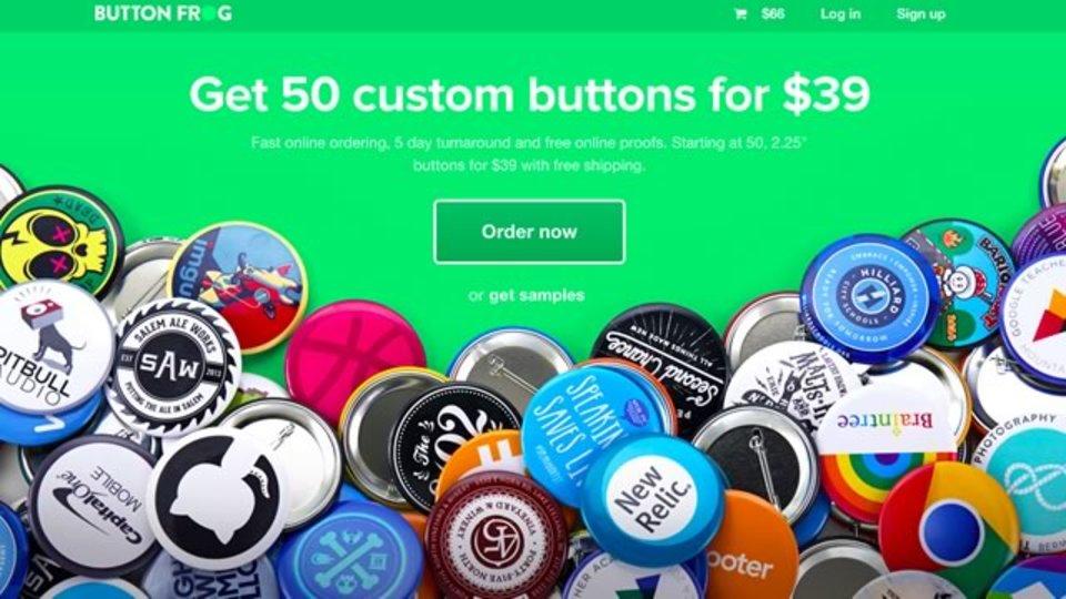 50個39ドルより。画像をアップロードすれば缶バッチが作れるサイト「Button Frog」
