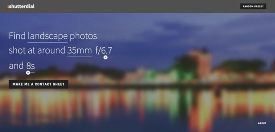 指定した焦点距離や絞り、シャッタースピードで写真を検索できるサイト「shutterdial」