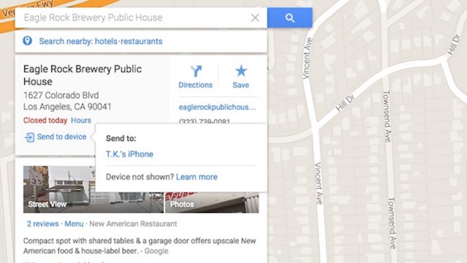 PC版Googleマップで検索した地図情報をiPhoneに直接送信可能に