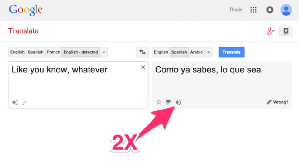 Google翻訳の「発音を聞く」ボタン、聞き取れない時は2回クリック
