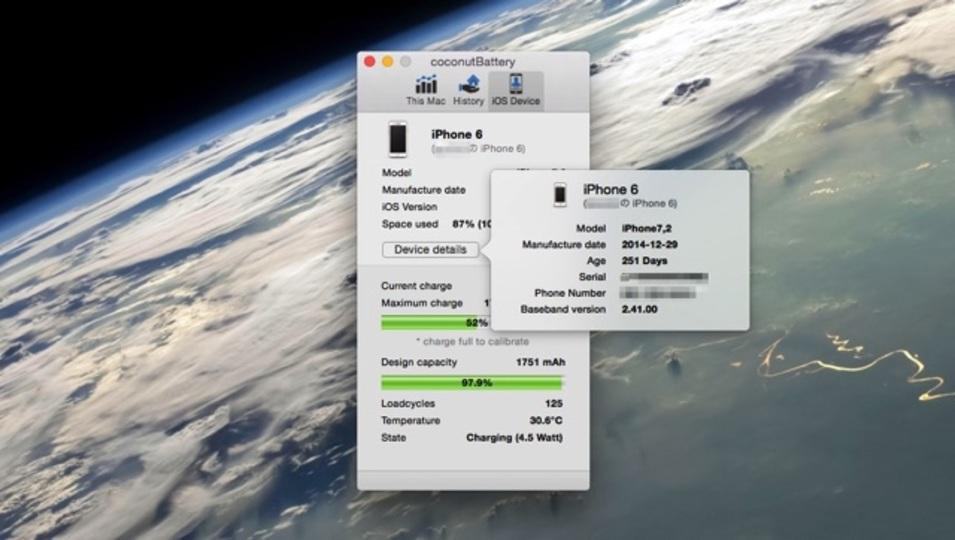iPhoneのバッテリーのヘタリ具合がわかるMac用アプリ『coconutBattery』