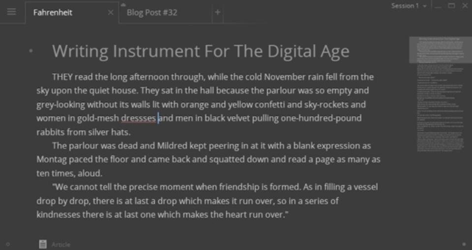 必要な機能だけを備えたストレスなしのライティングアプリ『Write!』