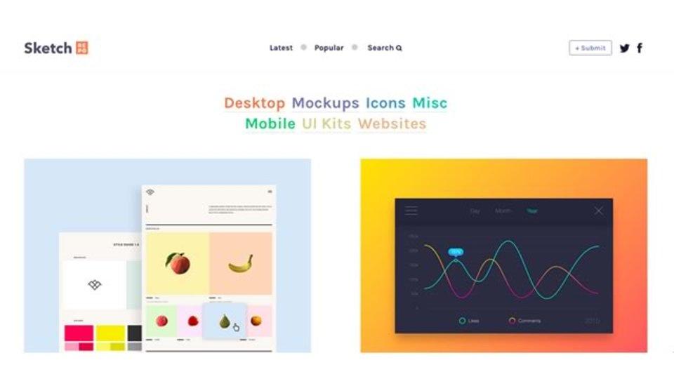 最新デザインのモックが探し出せるサイト「Sketch Repo」