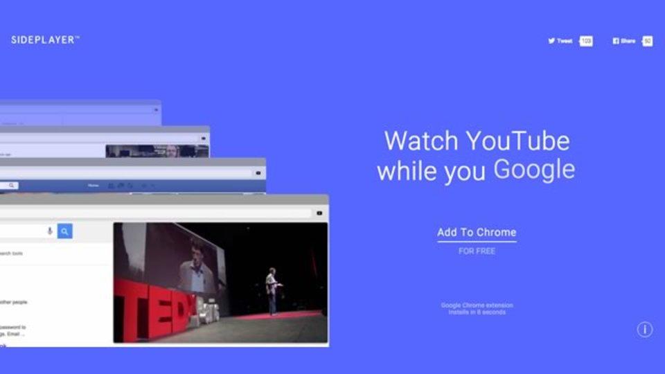 YouTube動画を常に表示できるChrome拡張機能「Sideplayer」
