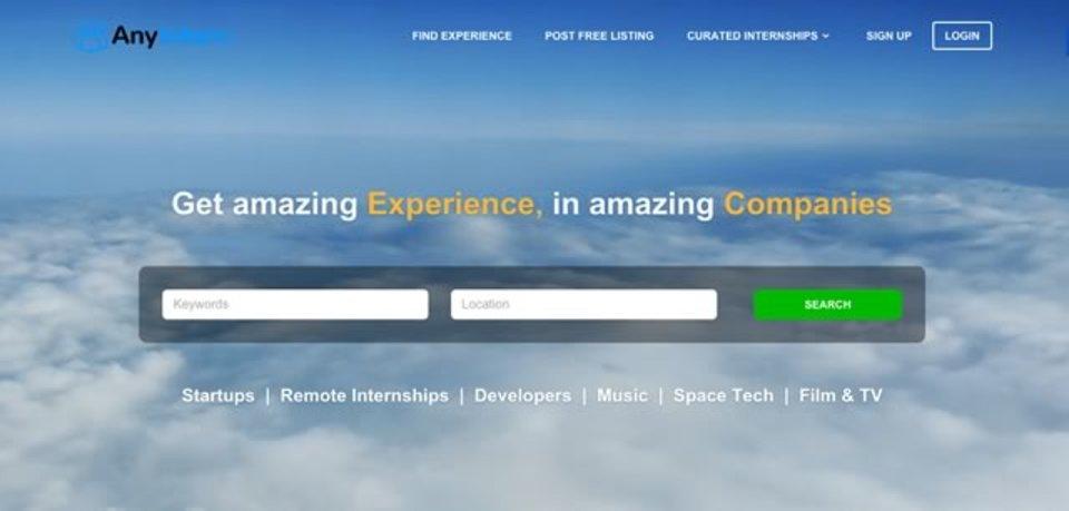 世界中から35000以上のインターンシップ求人を探せるサイト「AnyIntern」