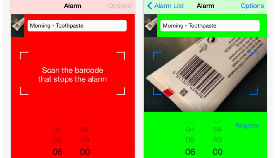 バーコードをスキャンするまで鳴り止まない、画期的な目覚ましアプリ『Barcode Alarm Clock』