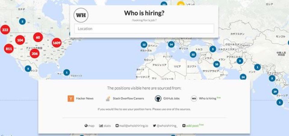 世界中のIT系求人募集を地図上から探し出せるサービス「Who is hiring」