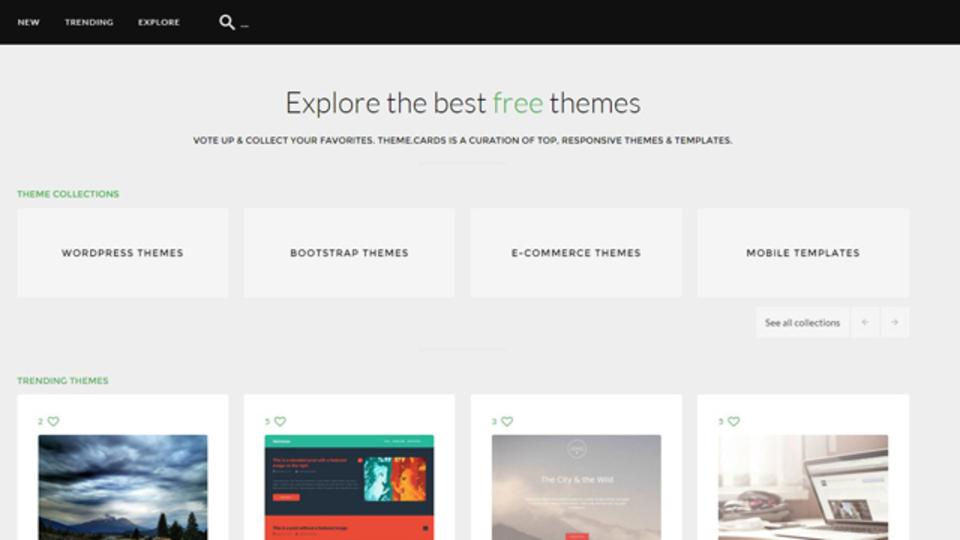 レスポンシブ対応されたテンプレートが探せるサイト「Theme Cards」