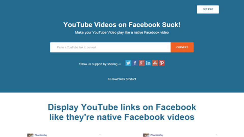 FacebookでYouTube動画を見やすく共有できるサイト「YT2FB」