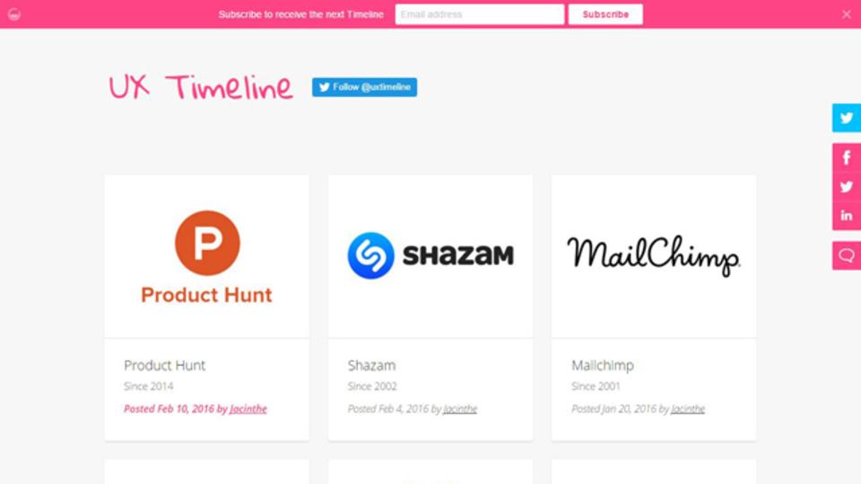 人気ウェブサービスのUXの歴史を振り返ることができるサイト「UX Timeline」
