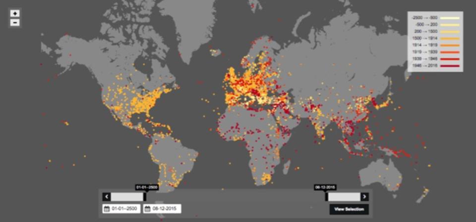 戦争がいつ起きたかが一目でわかるマップ