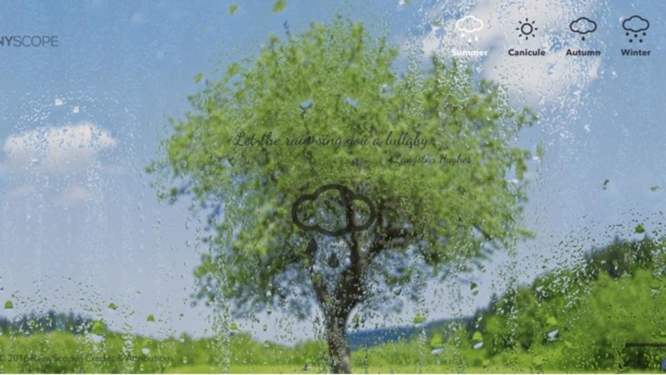 季節ごとの雨の音を流せるサイト「Rainyscope」