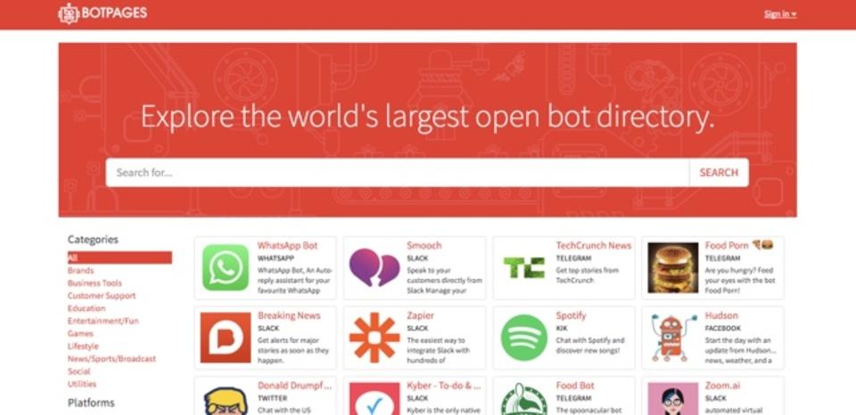 各プラットフォームごとにBotをまとめたサイト「BotPages」