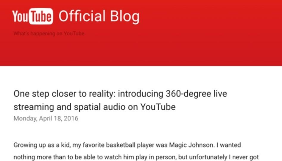 YouTubeが360度動画のライブストリーミング機能を導入
