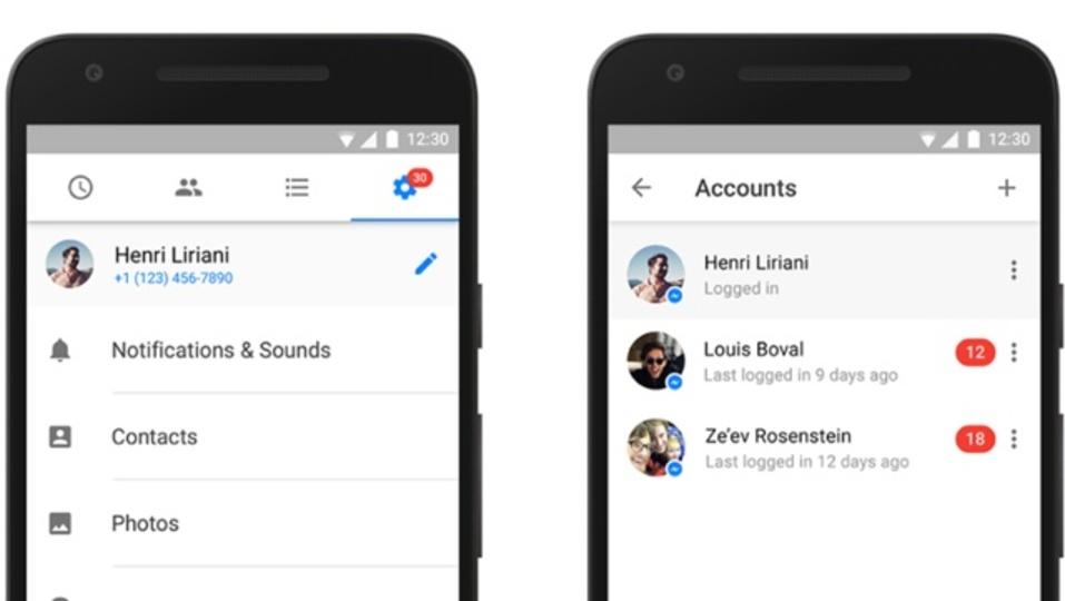 Facebook Messengerで、1つのデバイスで複数のアカウントが使えるように