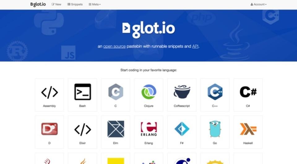 さまざまな言語のコードスニペットが共有できるサイト「glot.io」