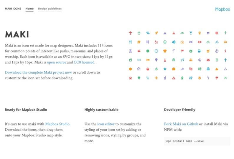 地図サービスに特化したアイコンが無料で手に入るサイト「Maki」