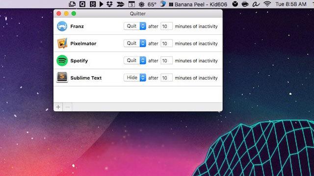 一定時間アクティブでないアプリを自動で非表示や停止にしてくれる『Quitter』