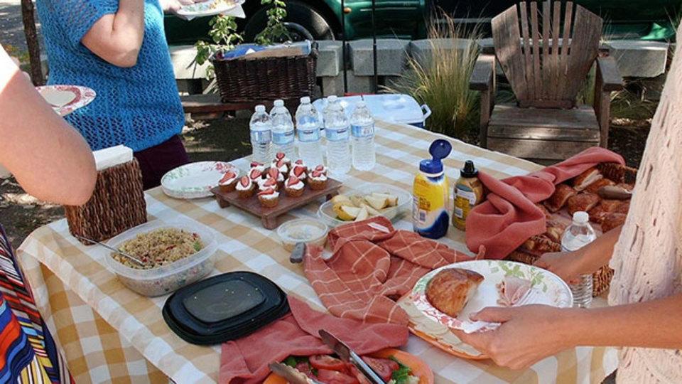 ピクニックやBBQのとき、パイ皿を使ってテーブルにアリを寄せつけない方法