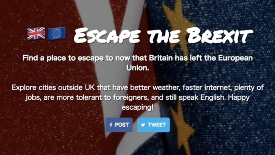 英国EU離脱を受けて英国民の移民先を提案してくれるサービス「Escape the Brexit」