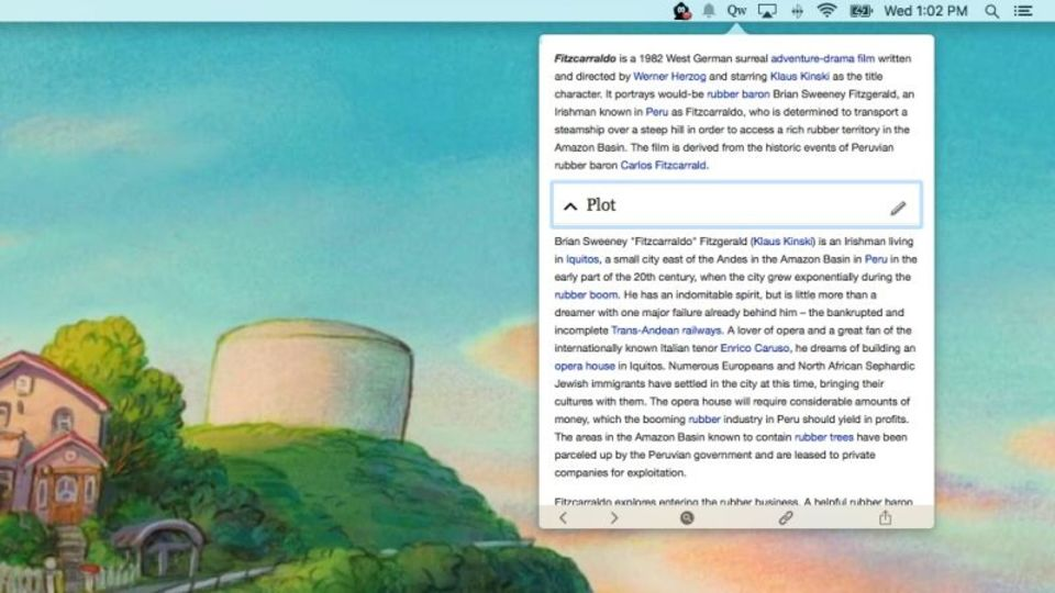 メニューバーから直接Wikipediaを検索・閲覧ができる『Qwiki』