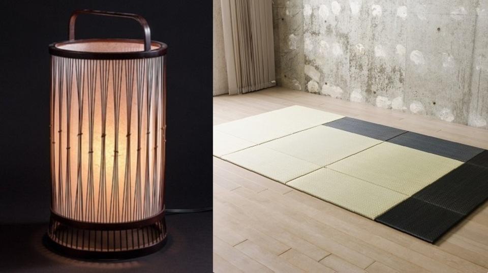 リラックスした夜を過ごしたい...。静かな和空間は『畳&竹細工ランプ』で作れる
