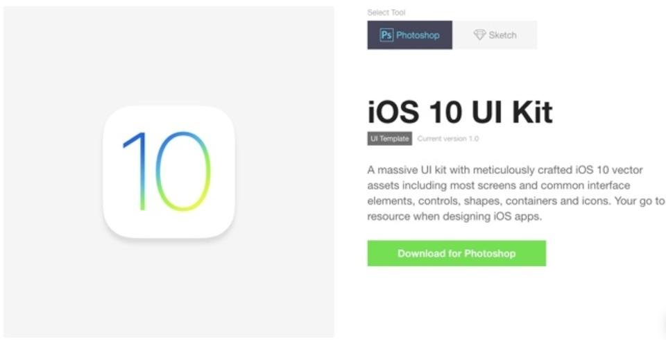 iOS10のUI素材をベクター形式で配布しているサイト「iOS 10 UI Kit」
