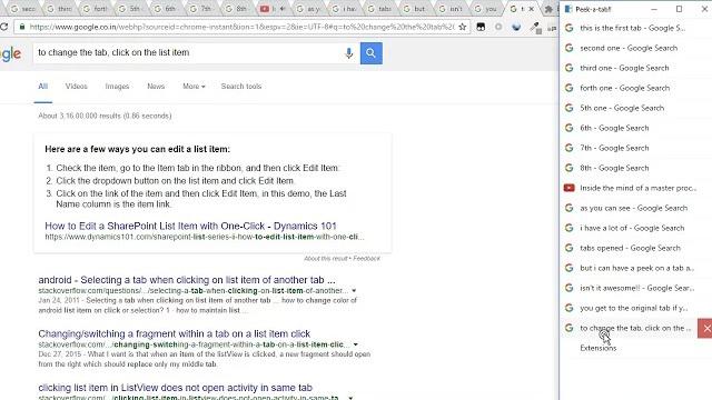 Google Chromeでタブ一覧を縦に並べられる拡張機能「Peek a tab」