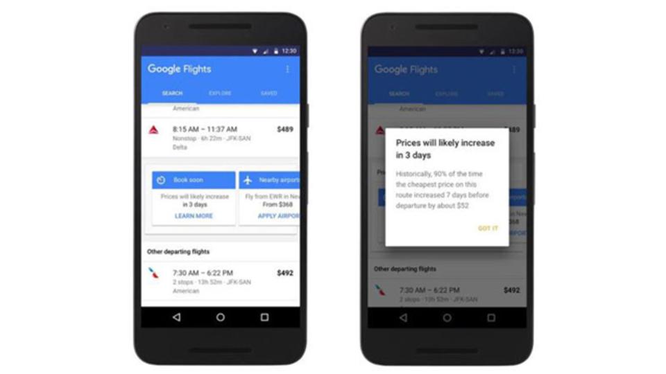 Googleフライトに新機能。航空券の価格が上がりそうな時にアラートしてくれます