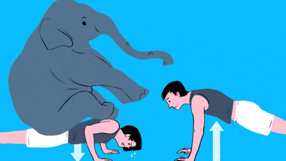 下向きの動きを繰り返す「ネガティブ・レップ」のトレーニングが強さをつくる