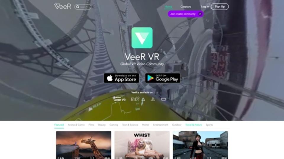 VRに対応した動画が楽しめるサイト「VeeR」