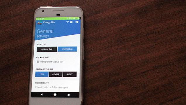 Androidのステータスバーを「バッテリー残量インジケーター」に変える『Energy Bar』