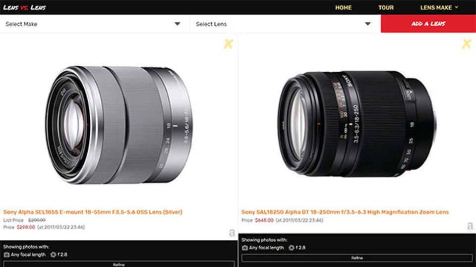 レンズを変えると写真がどう変わるのかを実感できる「Lens Vs. Lens」