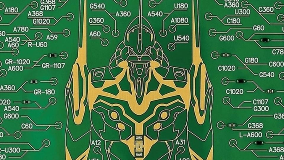 電子基板でアートを。約10万ラインで描かれたエヴァンゲリオン初号機の「ICカードケース」