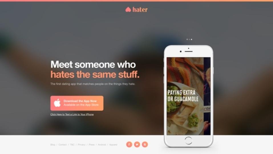 嫌いなことが共通している人を探せるアプリ「Hater」