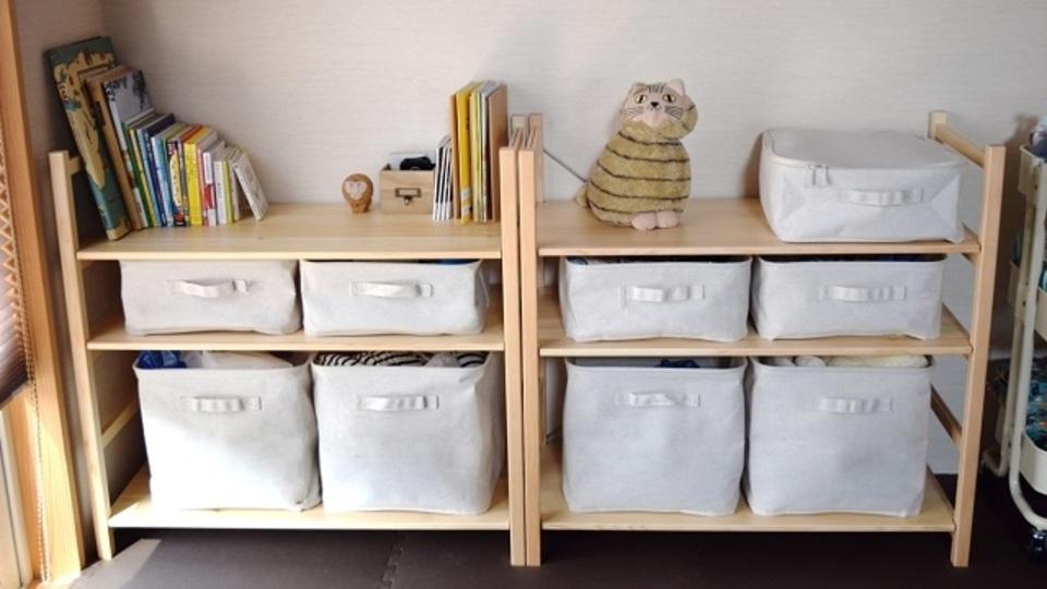 無印良品のパイン材ユニットシェルフ×ソフトボックスで「自由自在に収納」