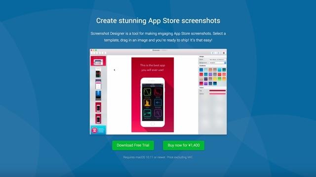 App Store用のスクリーンショットを簡単に作成できるツール「Screenshot Designer」