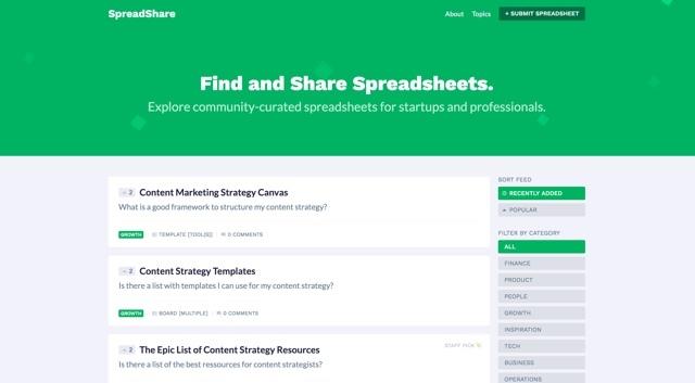 さまざまなジャンルのスプレッドシートが共有されているサイト「SpreadShare」