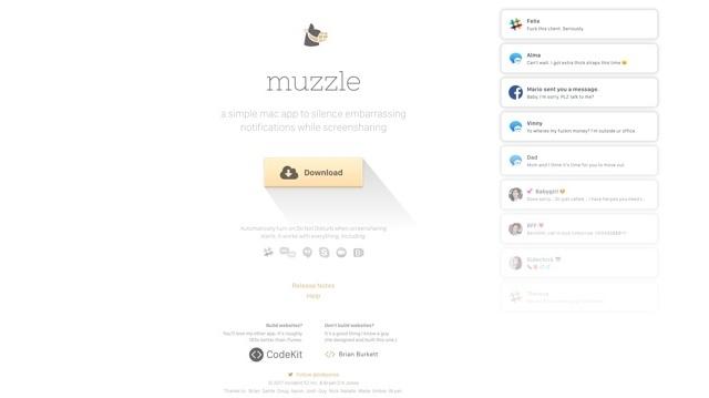 Macでスクリーン共有中だけ通知が出ないようにするツール「Muzzle」