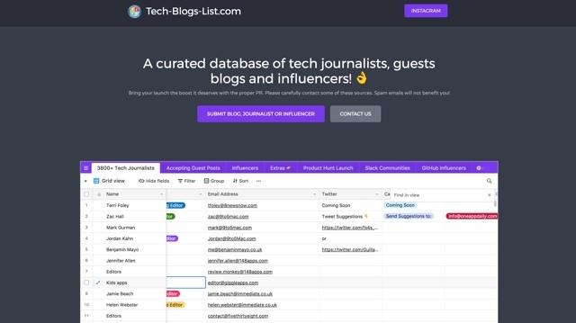 テック系のメディアやインフルエンサーの問い合わせ先をまとめたリスト「Tech Blogs List」