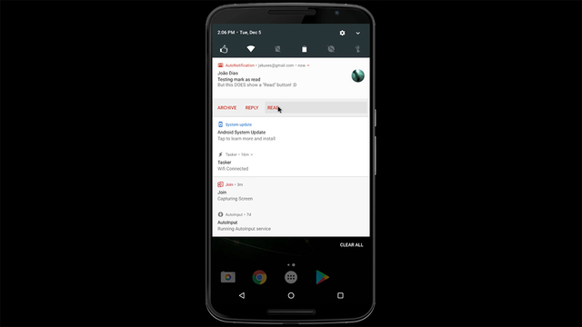 Androidの通知領域でGmailを既読にできるアプリ『AutoNotification』