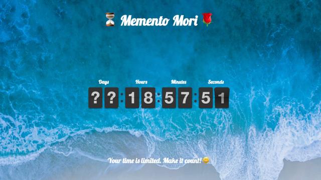 「人生は有限」を意識させてくれるWebサービス「Memento Mori」