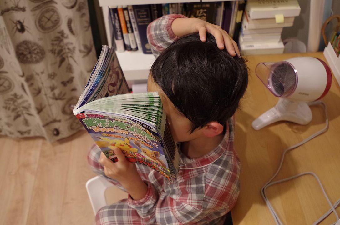 男の子もすすんで髪の毛を乾かすように