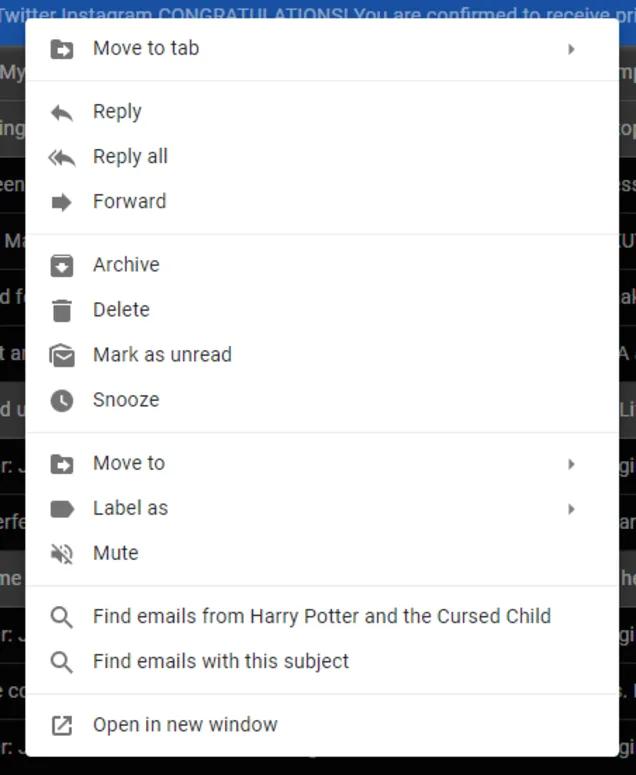 Gmailのコンテキストメニュー