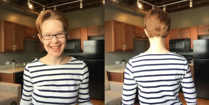 この記事の著者、Nicole Diekerの髪型を前と後ろから写したスナップショット。