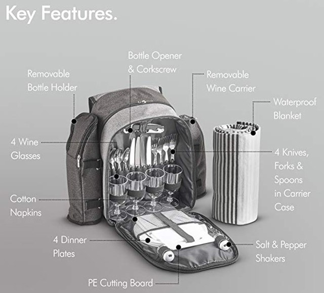 「Picnic Backpack」はピクニックに必要なものがスッキリおさまったリュック