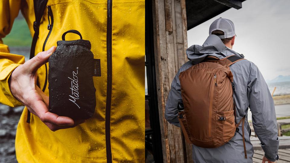 7bfe9e320e96 187gで片手サイズに畳める完全防水バックパック。メインバッグで使える機能