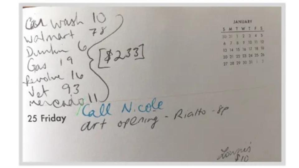 手帳に手書きした出費