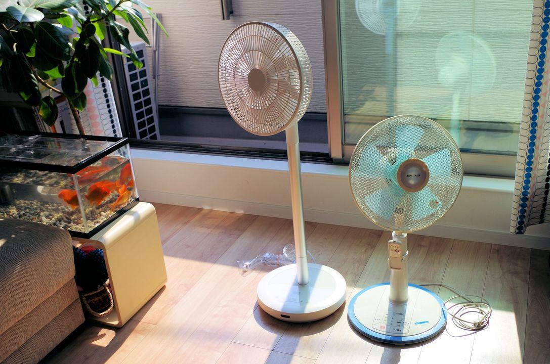 DC扇風機の(AHX-ALD30)とAC扇風機との比較
